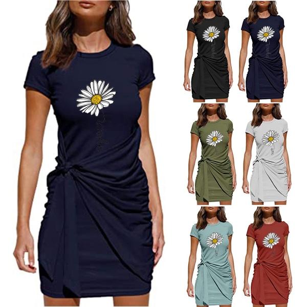 Kvinnors blommigtryckta kortärmad miniklänning snörning på sundress Dark Blue XL