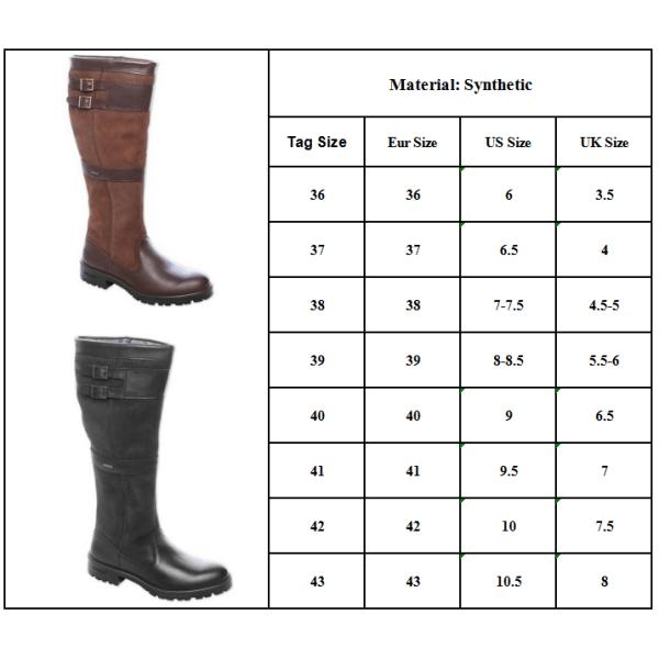 Kvinnor Retro knä höga platta stövlar vinter ridding skor svart 39