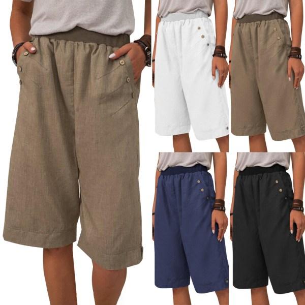 Kvinnor Casual Solid Fit Keen Shorts Half Pants Summer Pants Black 2XL