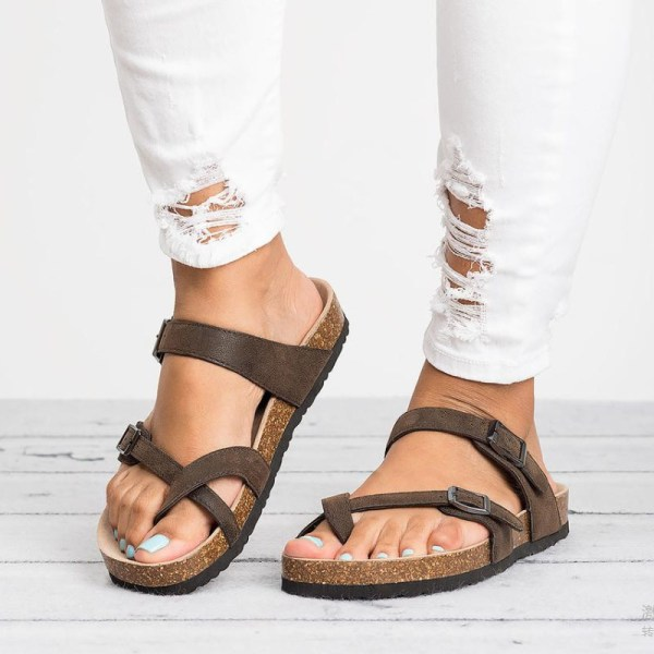 Kvinnors Korkklack Flip Flop Sandaler Damer Slip På Skor Brun 39