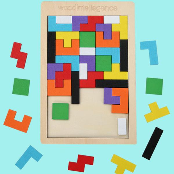Barnens pedagogiska leksak i trä Tetris Puzzle Stacking Blocks