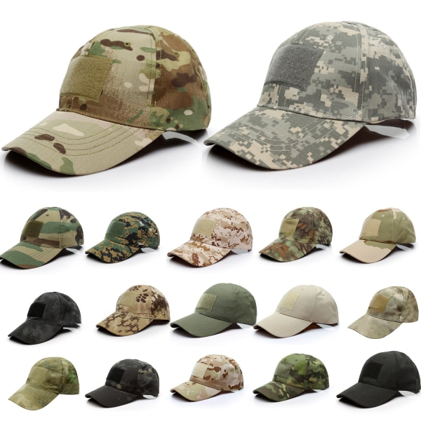 Män Camo Tactical Operator Baseball Hat Outdoor Peaked Cap Grey - Digital Camo