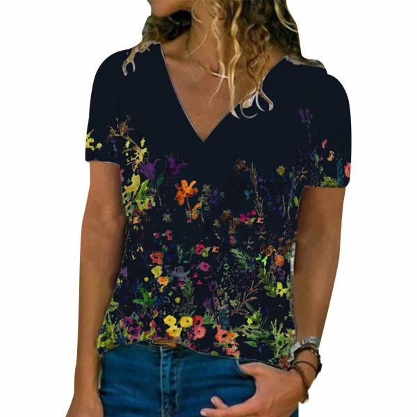 Kvinnor blommigt tryck V-ringad kortärmad T-shirt Black S