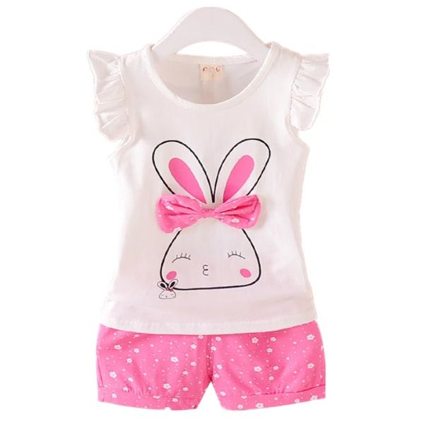 Flicka Kid Sommarkanin Kortärmad topp & skjorta Fritidsdräkt Pink 110cm