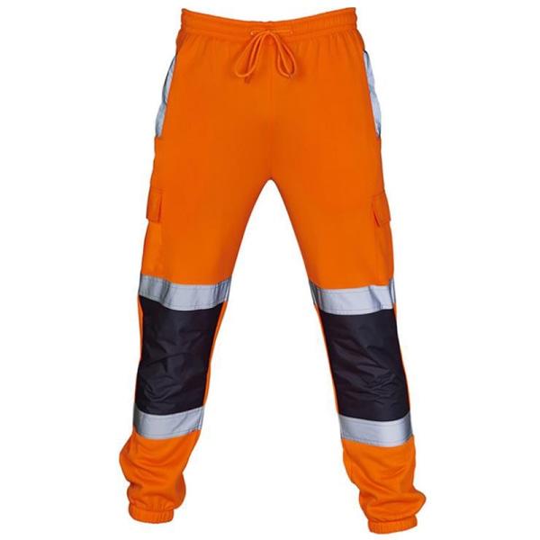 Hej Vis Säkerhetsväst Hög synlighet Säkerhetsreflekterande byxor # 5 Orange 4XL