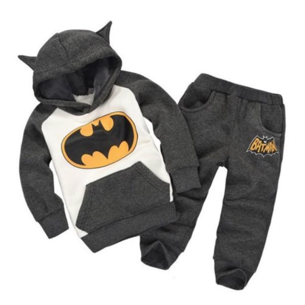 Kids Boys Girl Batman Sweatshirt Toppar Byxor Träningsdräkt Grå Black 110
