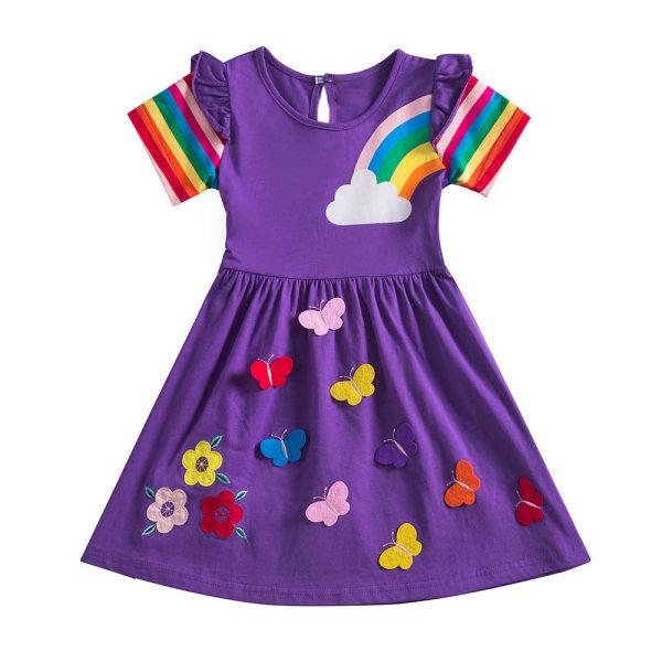 Barnklänning med svängning Korta ärmtryckta sommarklänningar