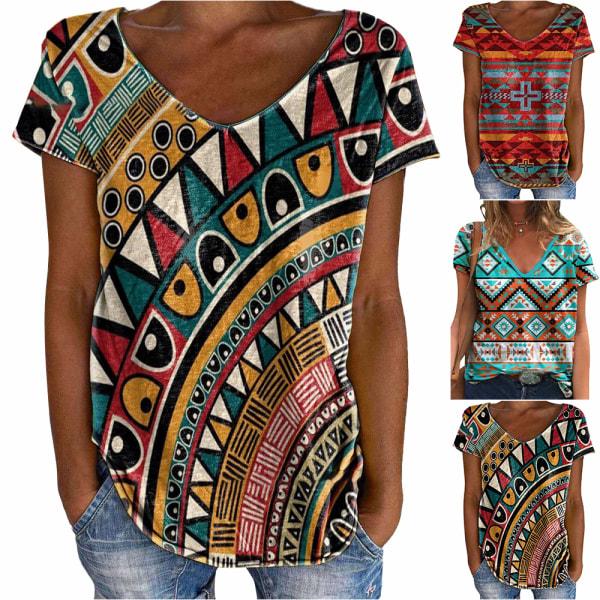 Kvinnor Casual V-ringad kortärmad, lös T-shirt