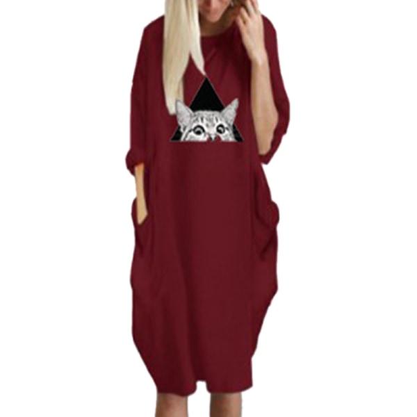 Kvinnor Katt Print Hooded Straight Klänning