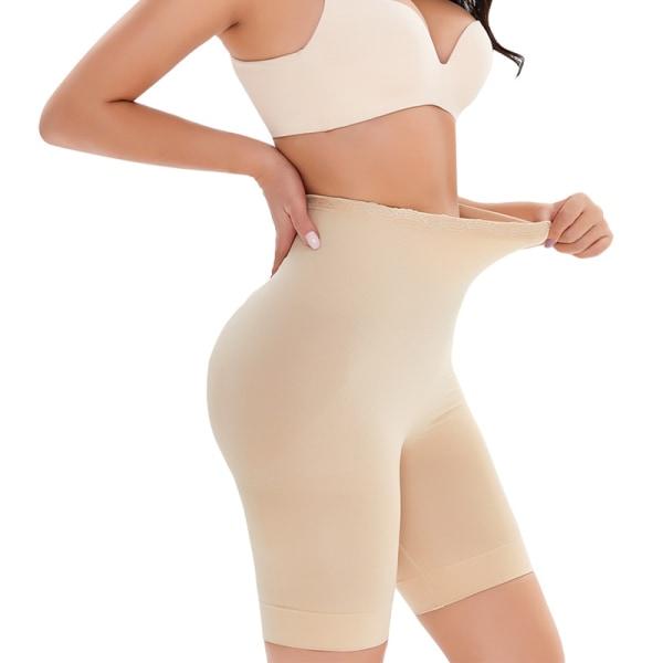 Kvinnor elastisk midja buk fettförbränning trosor Apricot XL