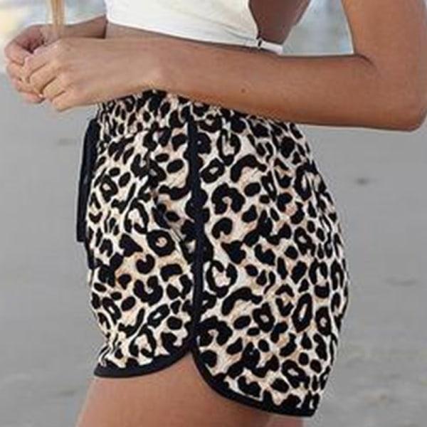 Kvinnor Leopard Drastring Beach Shorts As pics 2XL