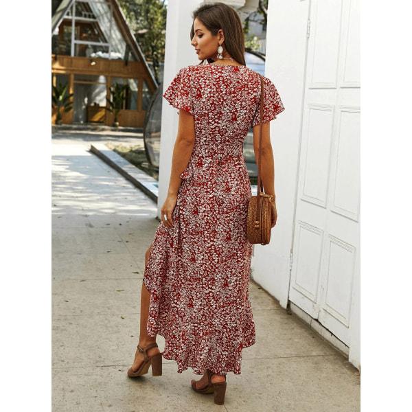 Kvinnor v-ringad kort ärm blommig maxiklänning sommarfåll sundress S