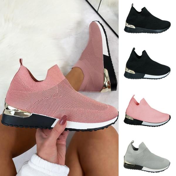Kvinnors Slip On Trainers Sports Running Comfy Sneakers Skor Black - White 37