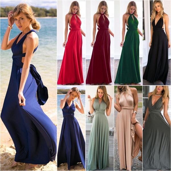 Ladies Long Wrap Dress Party Multiway Maxi Dress Green M