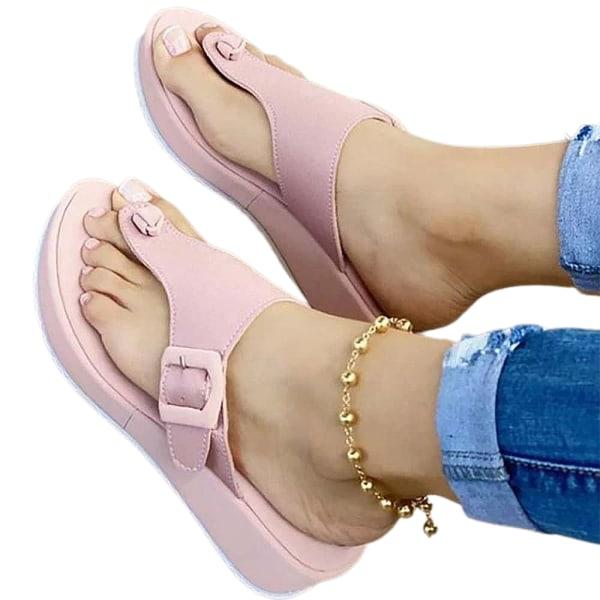 Damplattform Slip On Beach Casual Flip Flops Skor Rosa Pink 40
