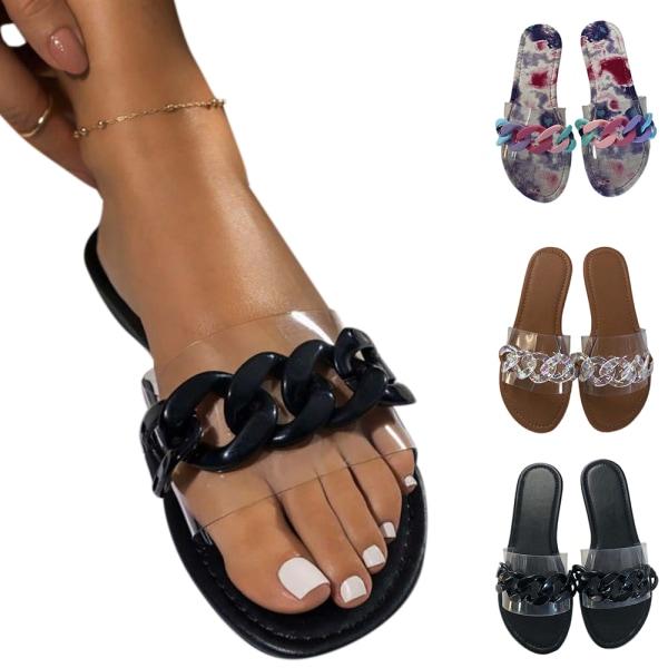 Dam Slip On Flops Sandaler Tie Dye Sommarskor Khaki Khaki 36