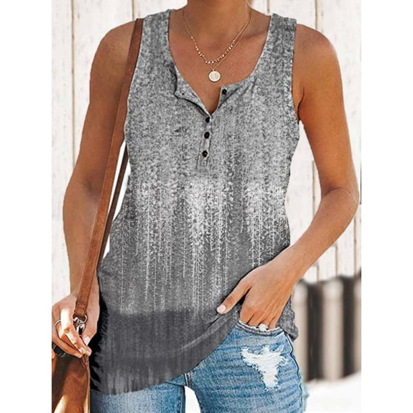 Damer sommartryckta linne Väst Casual blus tunika Grey L