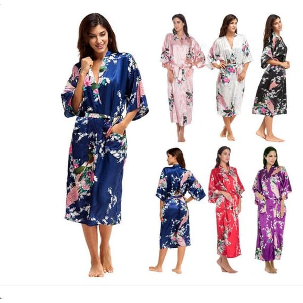 Lady blommig v-ringad kimono klänning pyjamas nattkläder nattkläder Red L