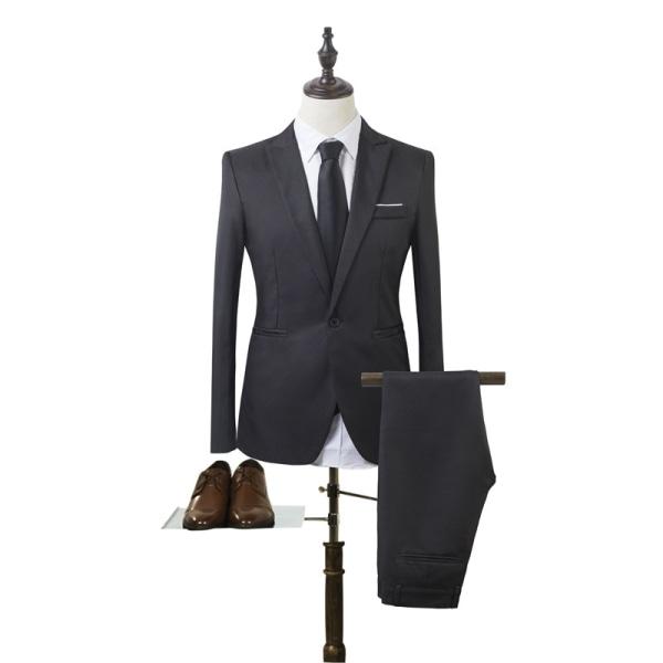 Man Business Slim Blazer Suit Tuxedo Coat Long Pants Formal Black M