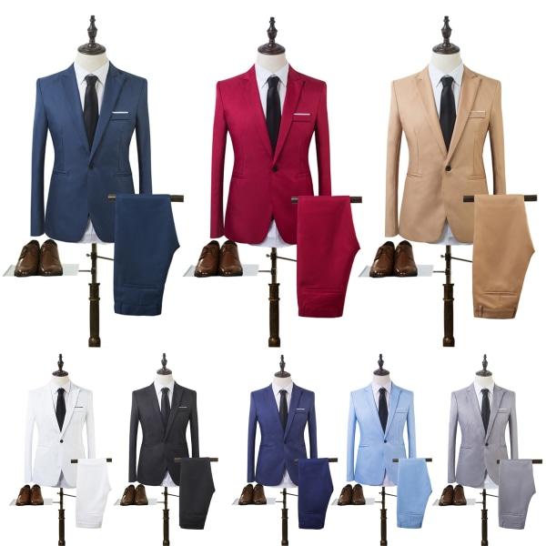 Man Business Slim Blazer Suit Tuxedo Coat Long Pants Formal Sky Blue M