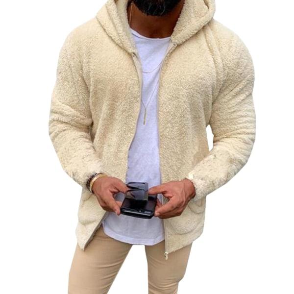 Man Casual Winter Teddy Bear Fleece Hoody Jacket Coat Top Apricot 2XL