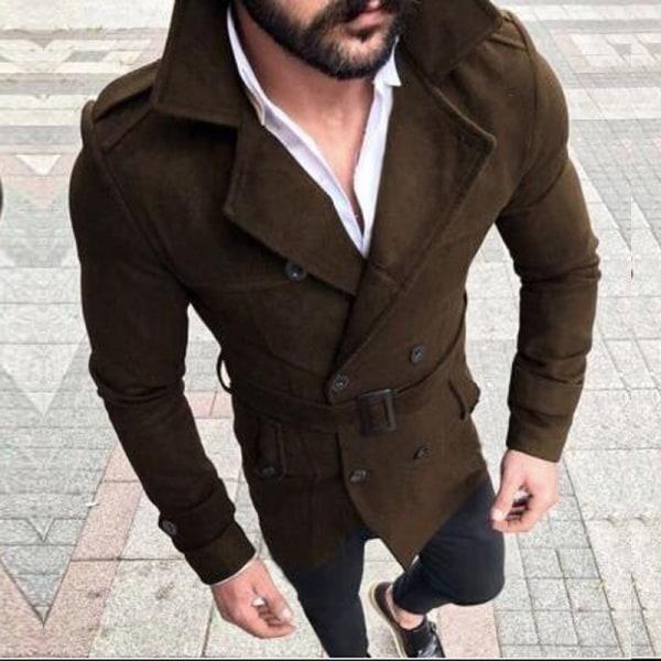Man dubbelknäppt trenchcoats vinter varm bälte lång jacka Coffee M