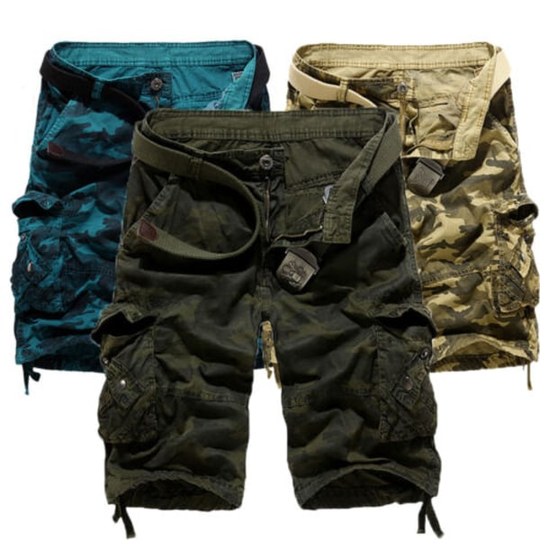Herr Army Combat Camo Cargo Shorts Byxor Casual korta byxor Yellow 38