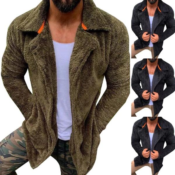 Kavajjacka för män Långärmad jacka med blixtlås varm vinter Black M
