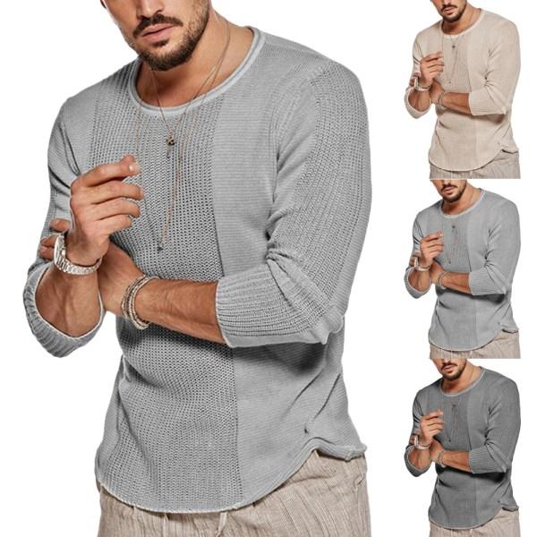 Herrtröja Med Genombruten Tröja Fritids Stickad Tröja Skjorta Light grey XL