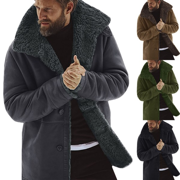 Herr tjock fleece päls fodrad kappa jacka tröja topp Green XL