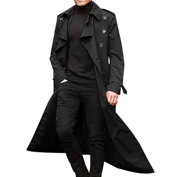Windbreaker herr vinter lång kappa enkla kappa Black M