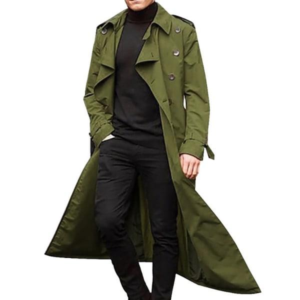 Windbreaker herr vinter lång kappa enkla kappa Green M
