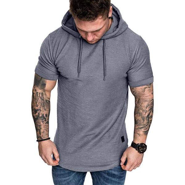 Kortärmad herrtränings-T-shirt med luvtröja för träning Black S
