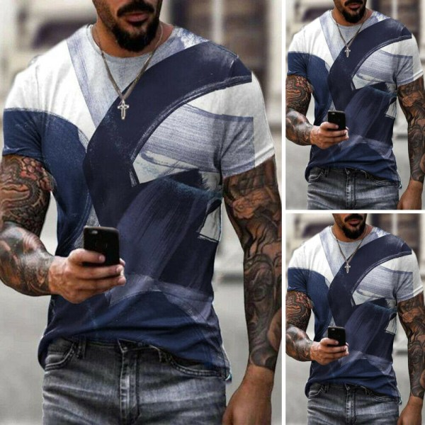 Herr Sommarferie Casual Pullover Toppar Kortärmad T-shirt 3XL