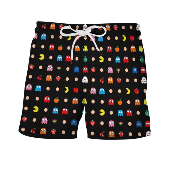 Herr simningstavla Surfshorts badkläder Beach sommarbyxor Pac-Man 2XL