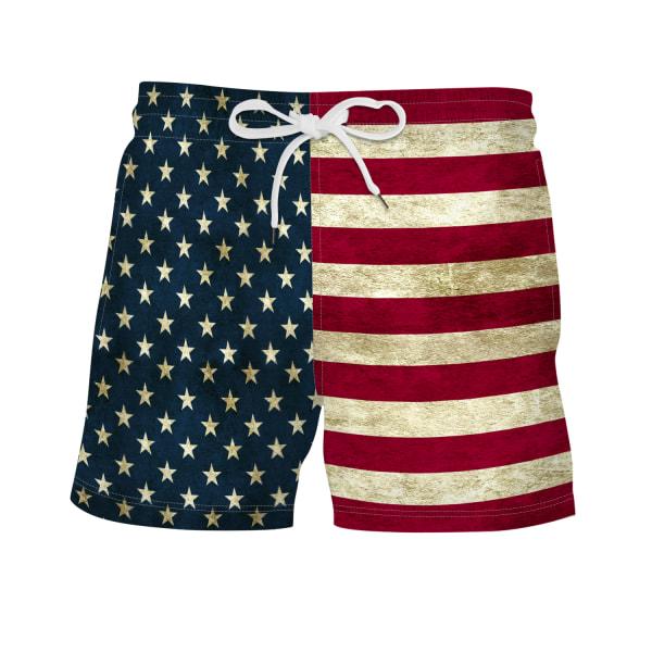 Mäns badbyxor flagga tryckta surfing shorts sommarbyxor Brown M