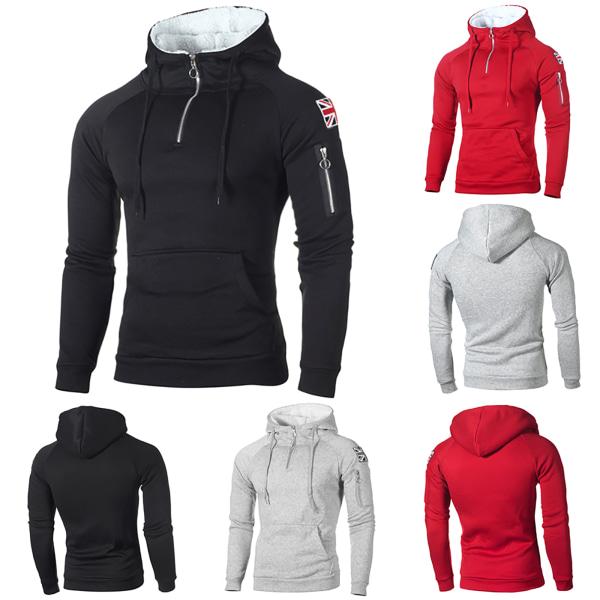 Huvtröja med tröja för män med hög hals Tröja med huva för sport Light Grey XL