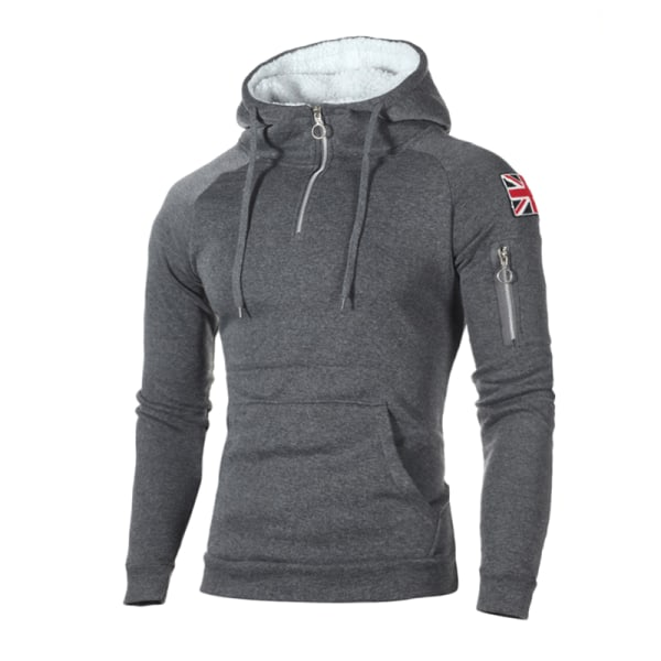 Huvtröja med tröja för män med hög hals Tröja med huva för sport Dark Grey 2XL