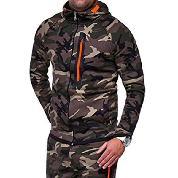 Mens Hooded Hoodie Camouflage Jacka Coat Outdoor Workwear Green 2XL