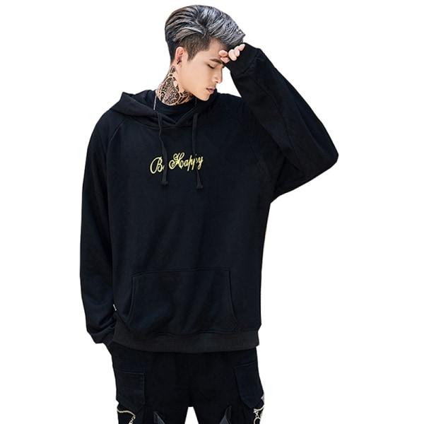 Män Hoodie Hip-Hop Skateboard Sweatshirt Blus Pullover Toppar Black XL