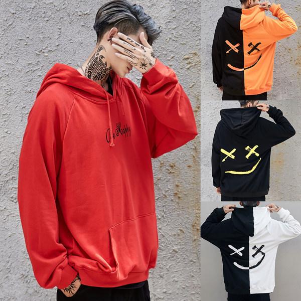Män Hoodie Hip-Hop Skateboard Sweatshirt Blus Pullover Toppar Black + White XL