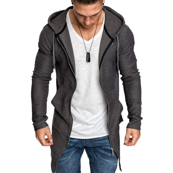Mens Hoodie Long Jacket Overcoat Winter Casual Coat Outwear Grey 3XL
