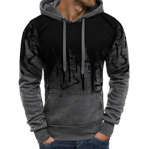Herr Långärmad Casual Hoodies Sweatshirt Pullover Jumper Top Grey XL