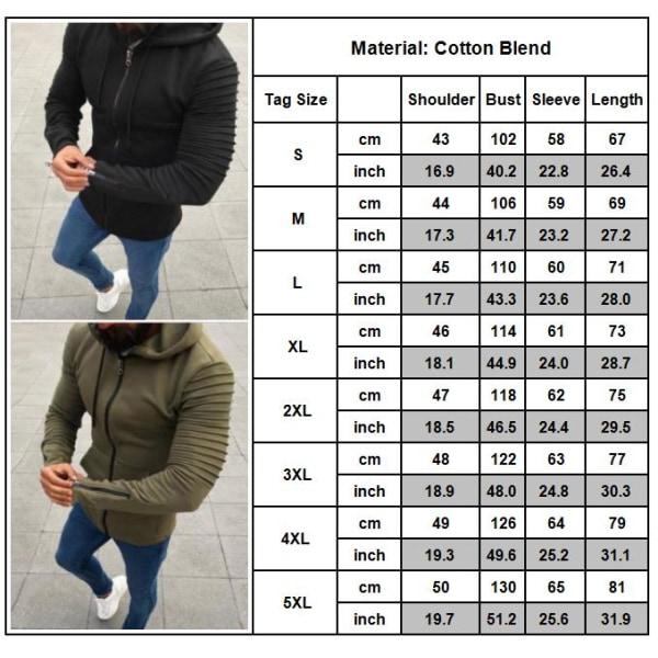 Herr Långärmad Zip Up Jacka Coat Winter Warm Sweatshirt Top Black M