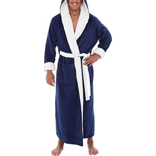 Mens mjuk fleece huva Loungewear badrock klädsel Blue XL