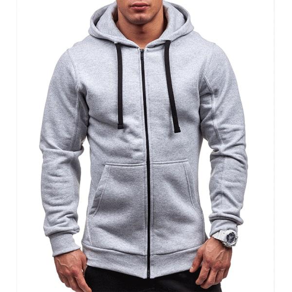 Mens Sport Zip Up Jackor Hoodie Hooded Sweatshirt Jumper Coat Grey 3XL