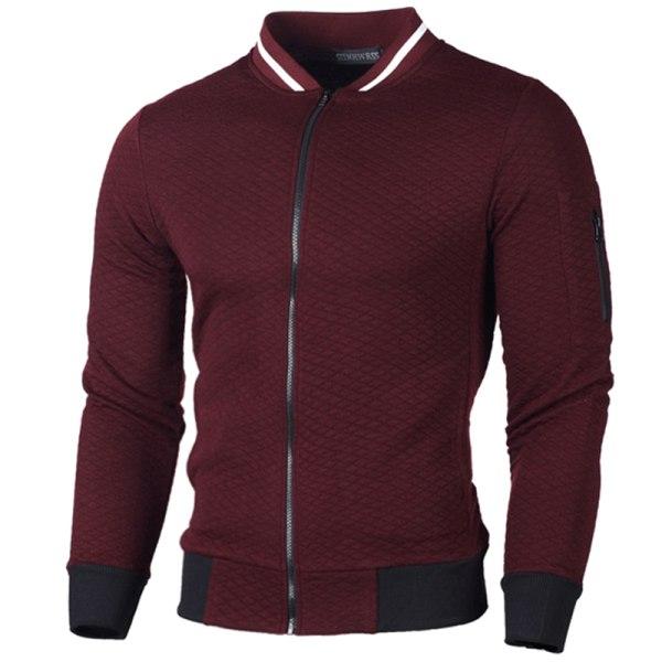 Herr höstjacka med dragkedja, cardigan, jackor, topp Wine Red XL
