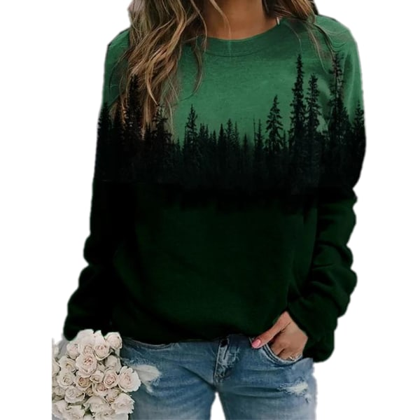 Plus Size Womens Printed Loose Hoodie Sweatshirt Långärmad