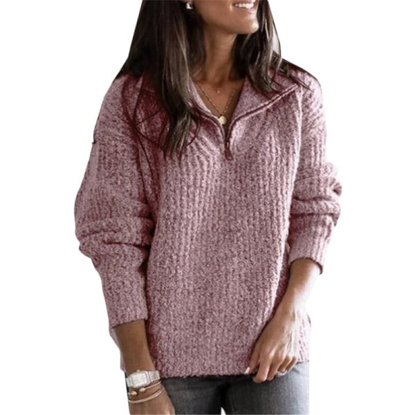 Kvinnor Jumper ren färg dragkedja tröja pink M