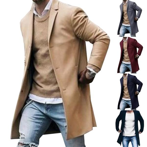Retro män kavaj Trenchcoat Slim Business Casual Overcoat Black L